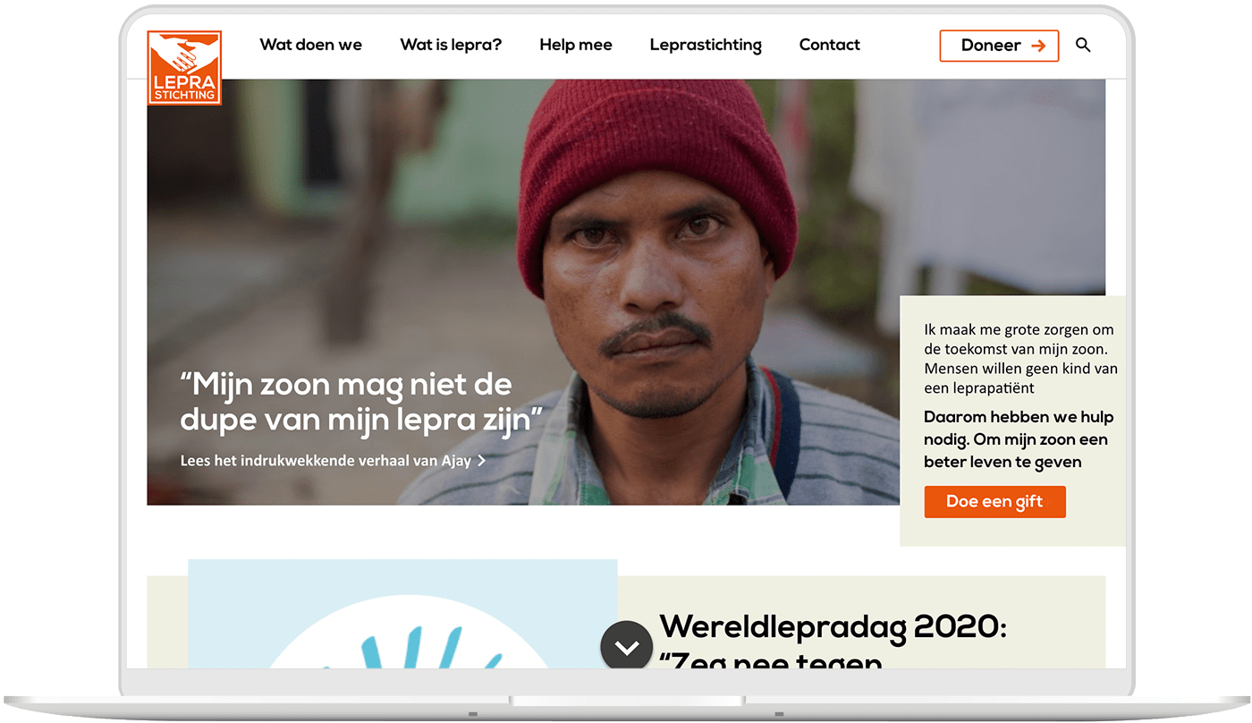 Lepra Stichting website laptop